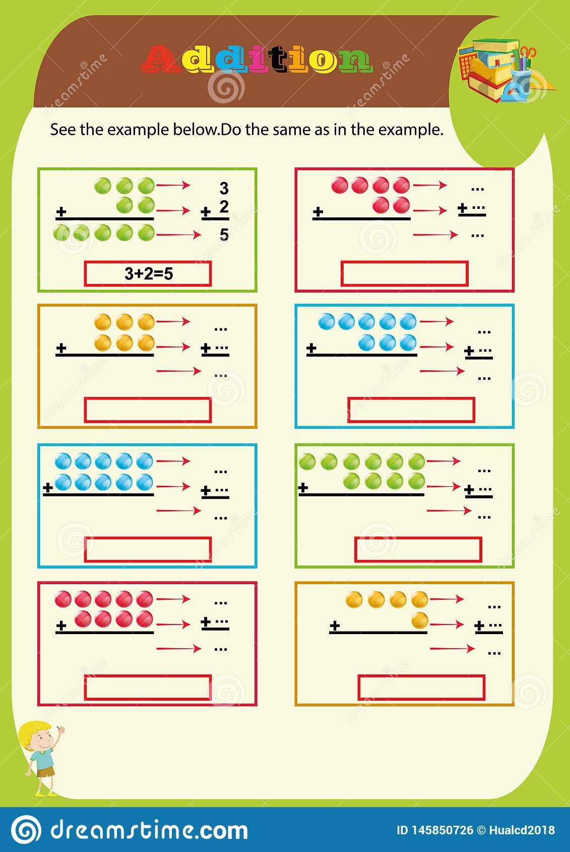 Addition Worksheet Mathematical Puzzle Game Learning