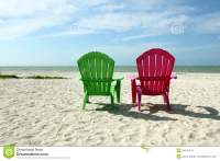 Adirondack Beach Chairs With Ocean View Stock Photo