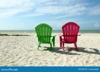Adirondack Beach Chairs With Ocean View Stock Photo ...