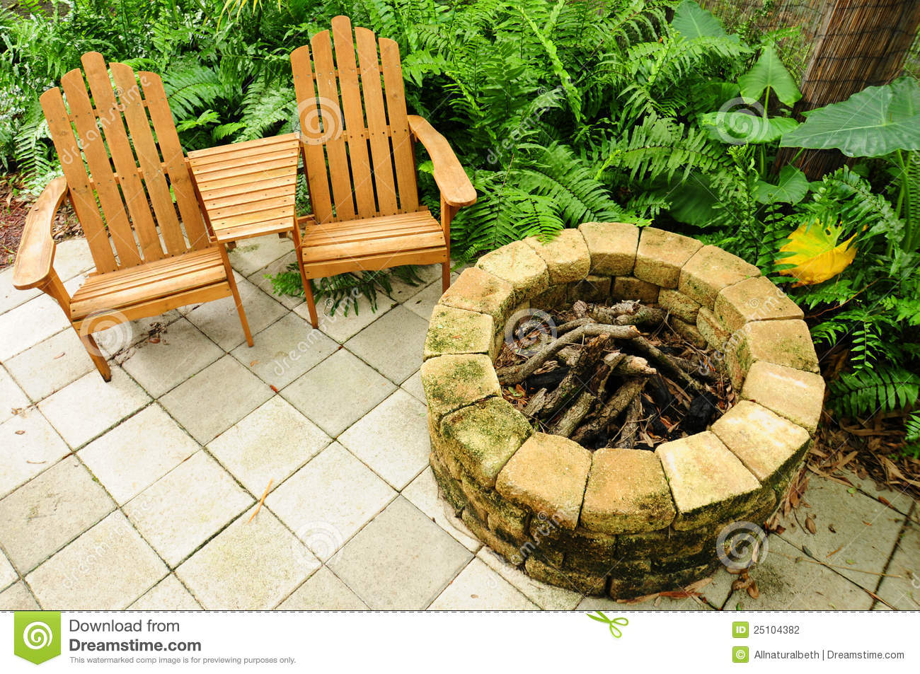 fire pit and adirondack chairs steelcase office chair canada stock photo image 25104382