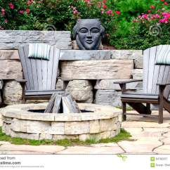 Fire Pit And Adirondack Chairs Ergonomic Chair Johannesburg Stock Image 64782237