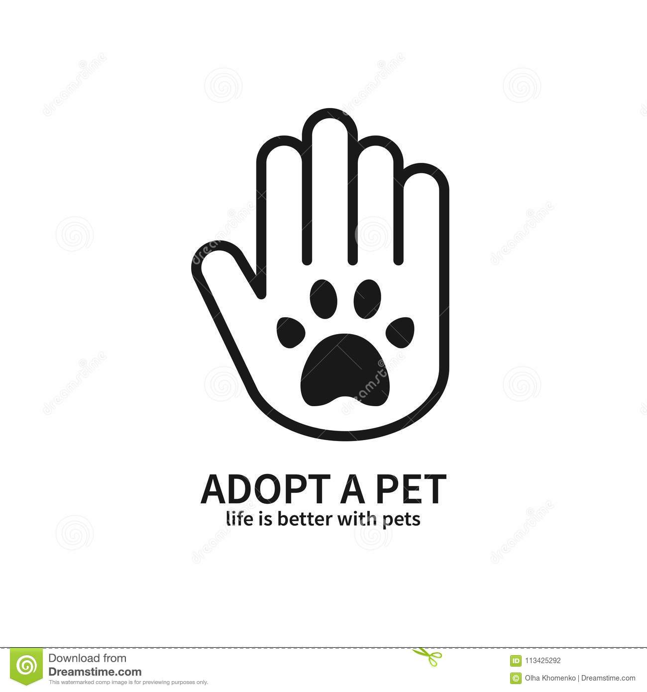 Adopt A Pet. Hand With Paw Line Icon. Volunteer Help Care