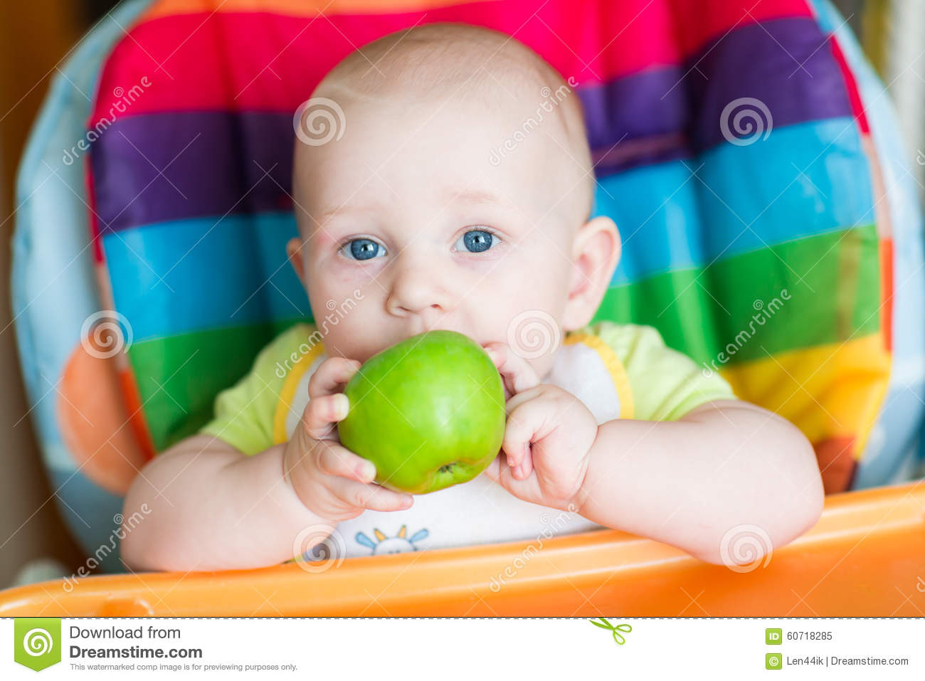 Baby Food Chair Adorable Baby Eating Apple In High Chair Stock Photo