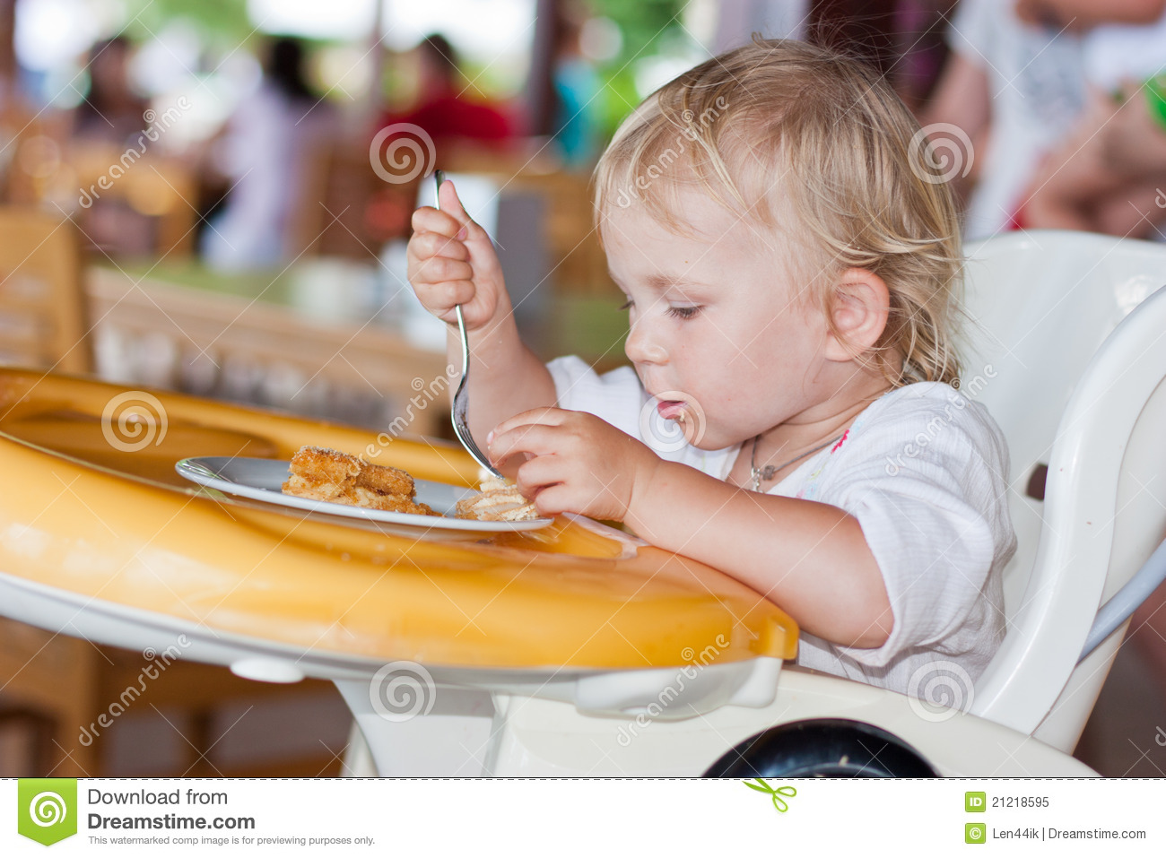 baby eating chair tolix cushion adorable cake in a royalty free stock