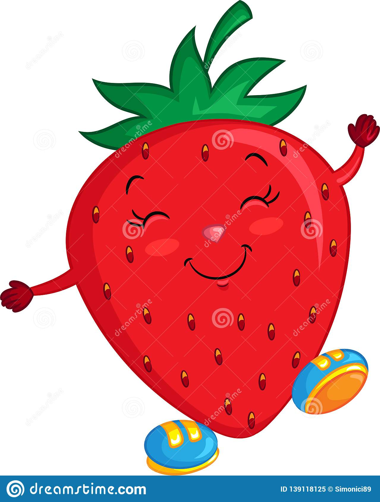 Strawberry Drawing Cute : strawberry, drawing, Adorable, Color, Kawaii, Drawing, Little, Strawberry,, Happy,, Shoes,, Children`s, Stock, Vector, Illustration, Adorable,, Beautifully:, 139118125