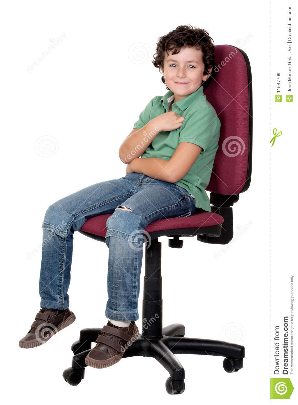 Adorable Little Boy Sitting On Big Chair Royalty Free