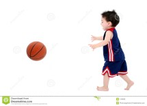 Barefoot Boy Playing Basketball
