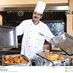 Commercial Kitchen Equipment Prices Cheap Cabinets Sale Arab Chef With Food At Restaurant Hotel Stock Photos ...