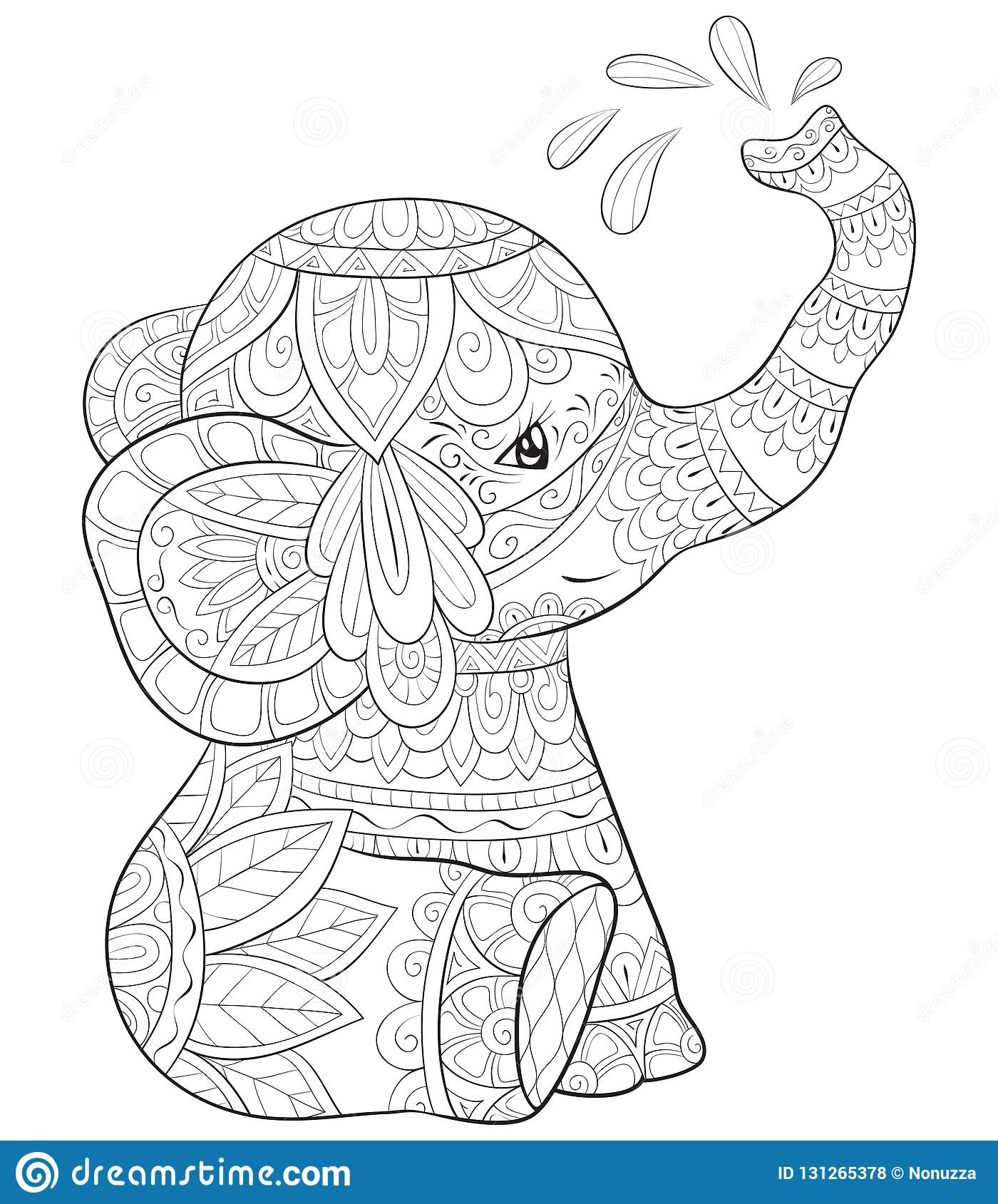 Adult Coloring Book Page A Cute Elephant Image For