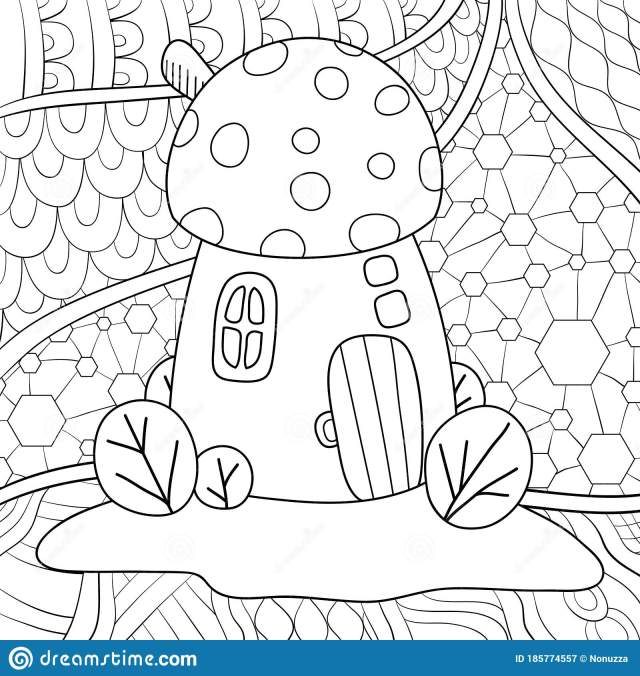 Adult Coloring Book,page a Cute Mushroom House on the Abstract