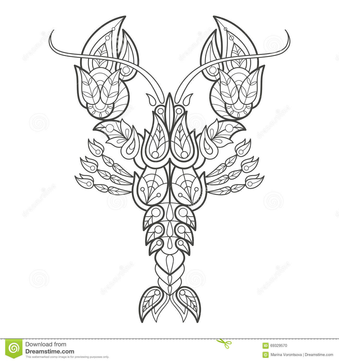 Adult Coloring Lobster Stock Vector Illustration Of
