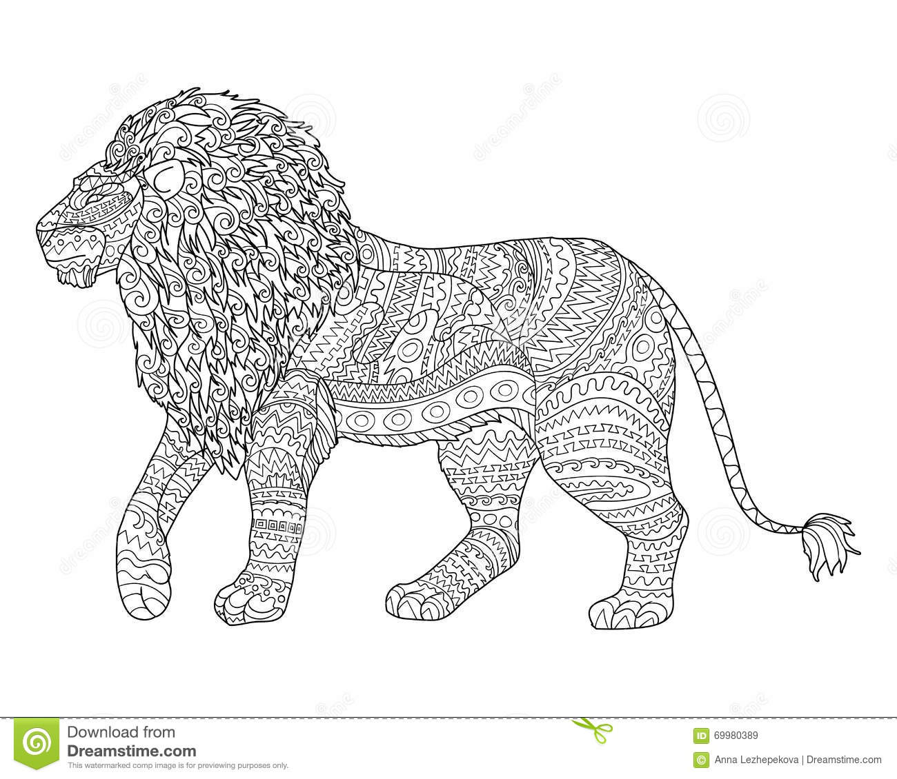 Adult Coloring Page For Antistress With Lion. Stock Vector