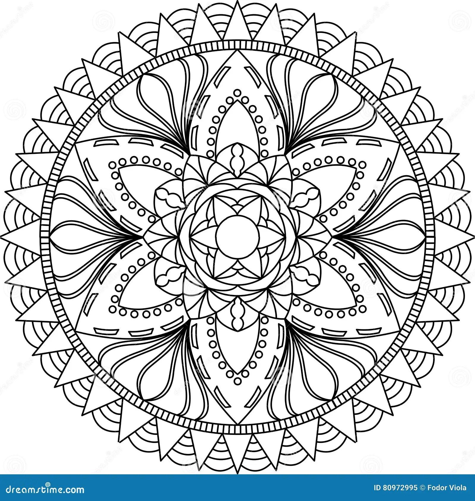 Adult Coloring Page Mandala Stock Vector