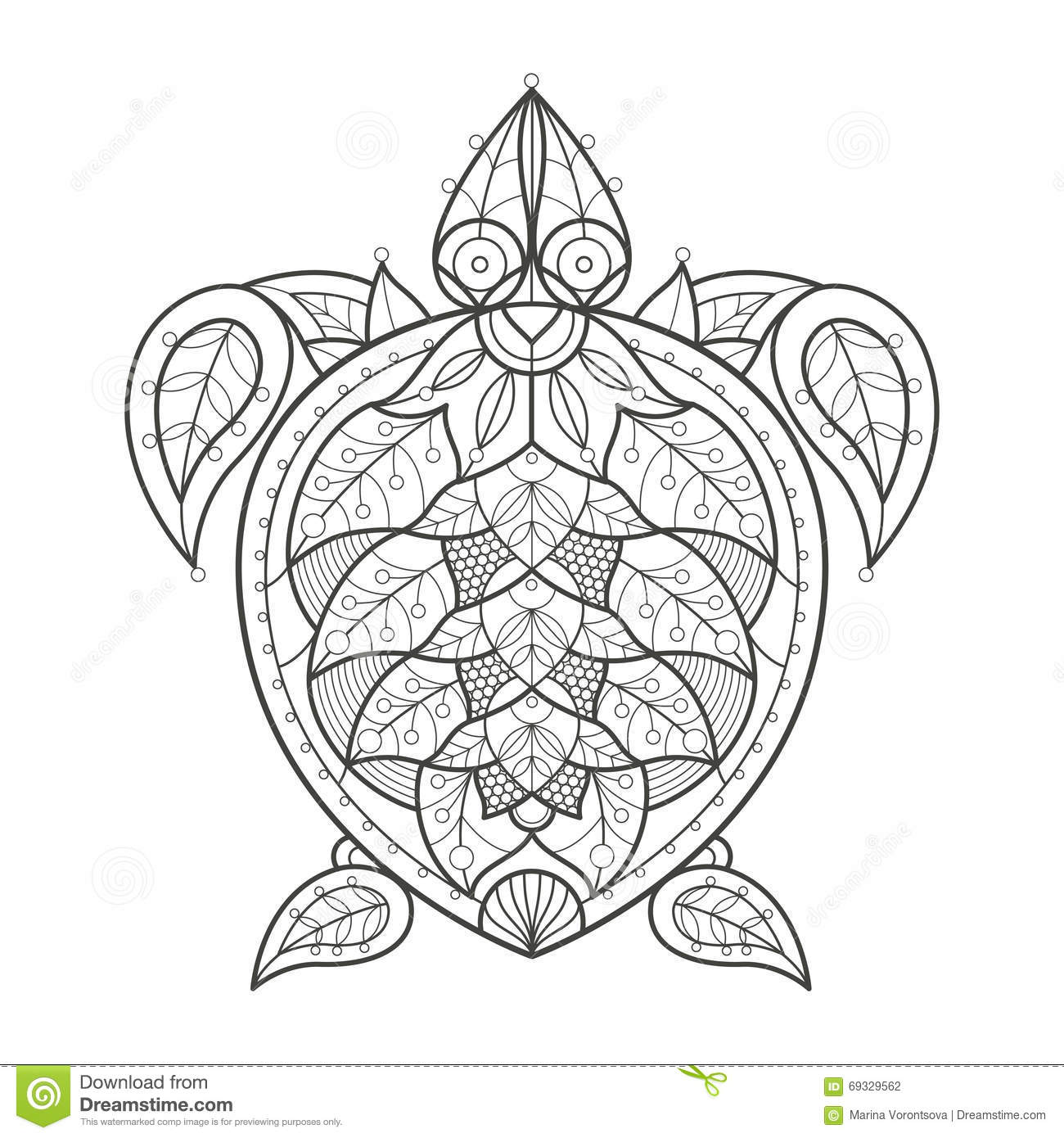 Adult Coloring Sea Turtle Stock Vector