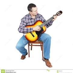 Classical Guitar Chair Diy Covers For Wedding Adult Man Plays A Sitting On An Stock Photo
