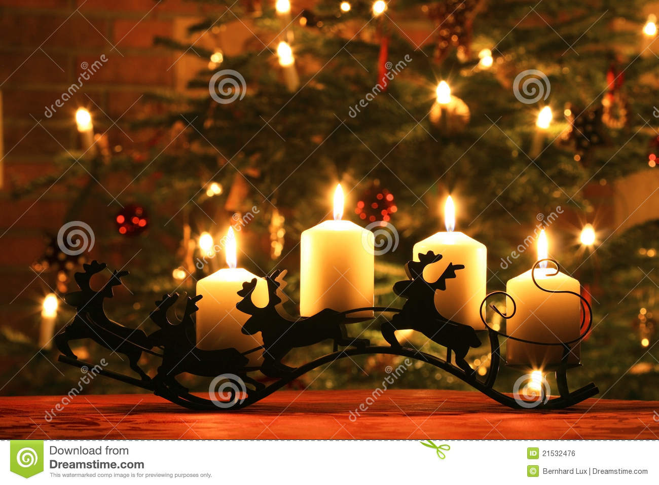 Advent Candles On Reindeer Sledge Stock Photo Image Of