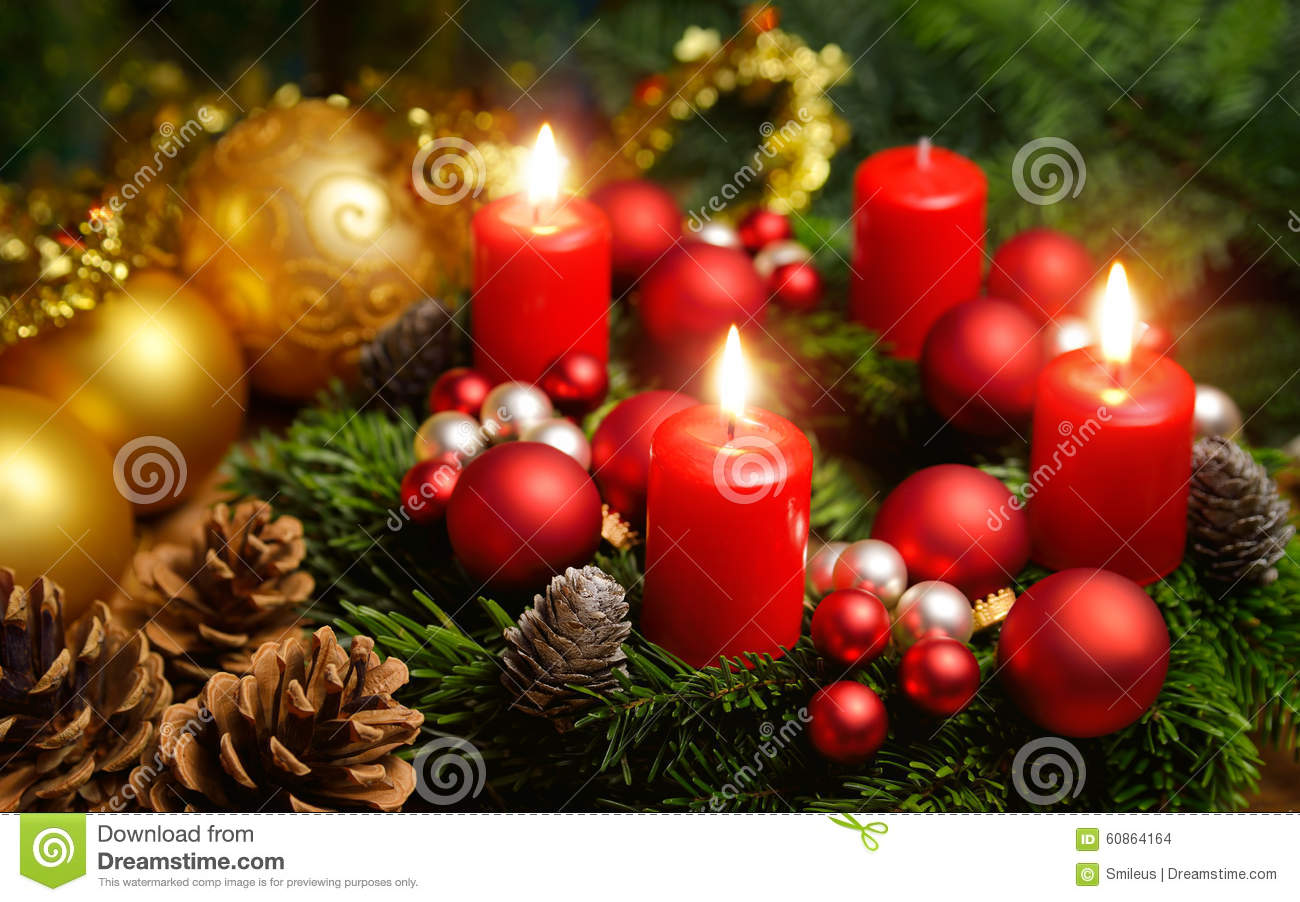 Advent Wreath With 3 Burning Candles Stock Photo