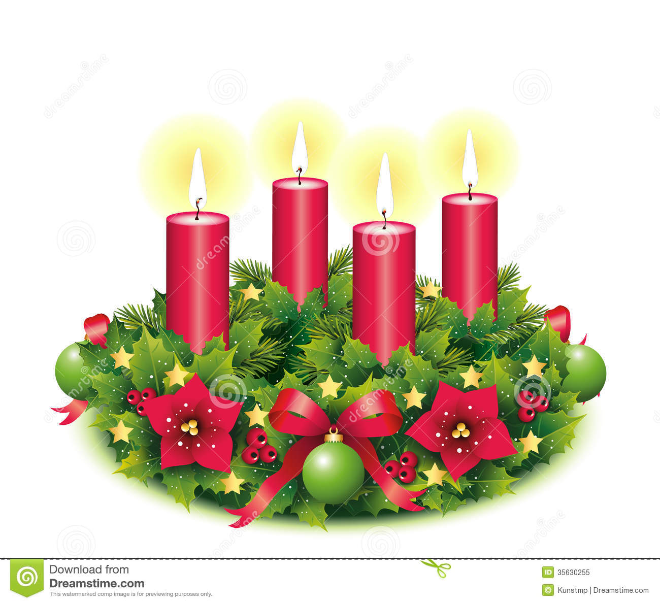 hight resolution of advent wreath four burning candle