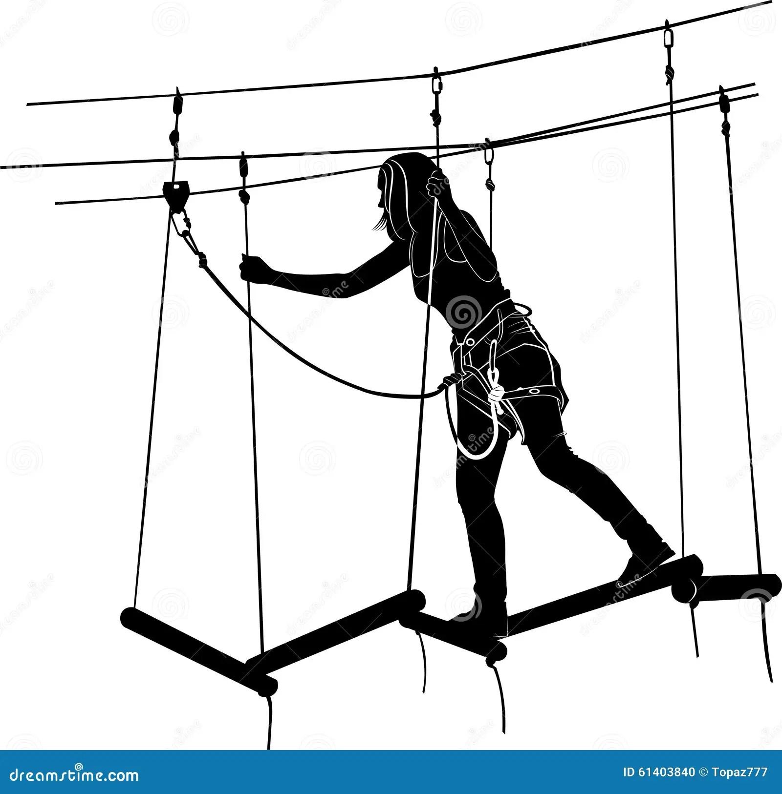 Adventure Park Rope Ladder Cartoon Vector