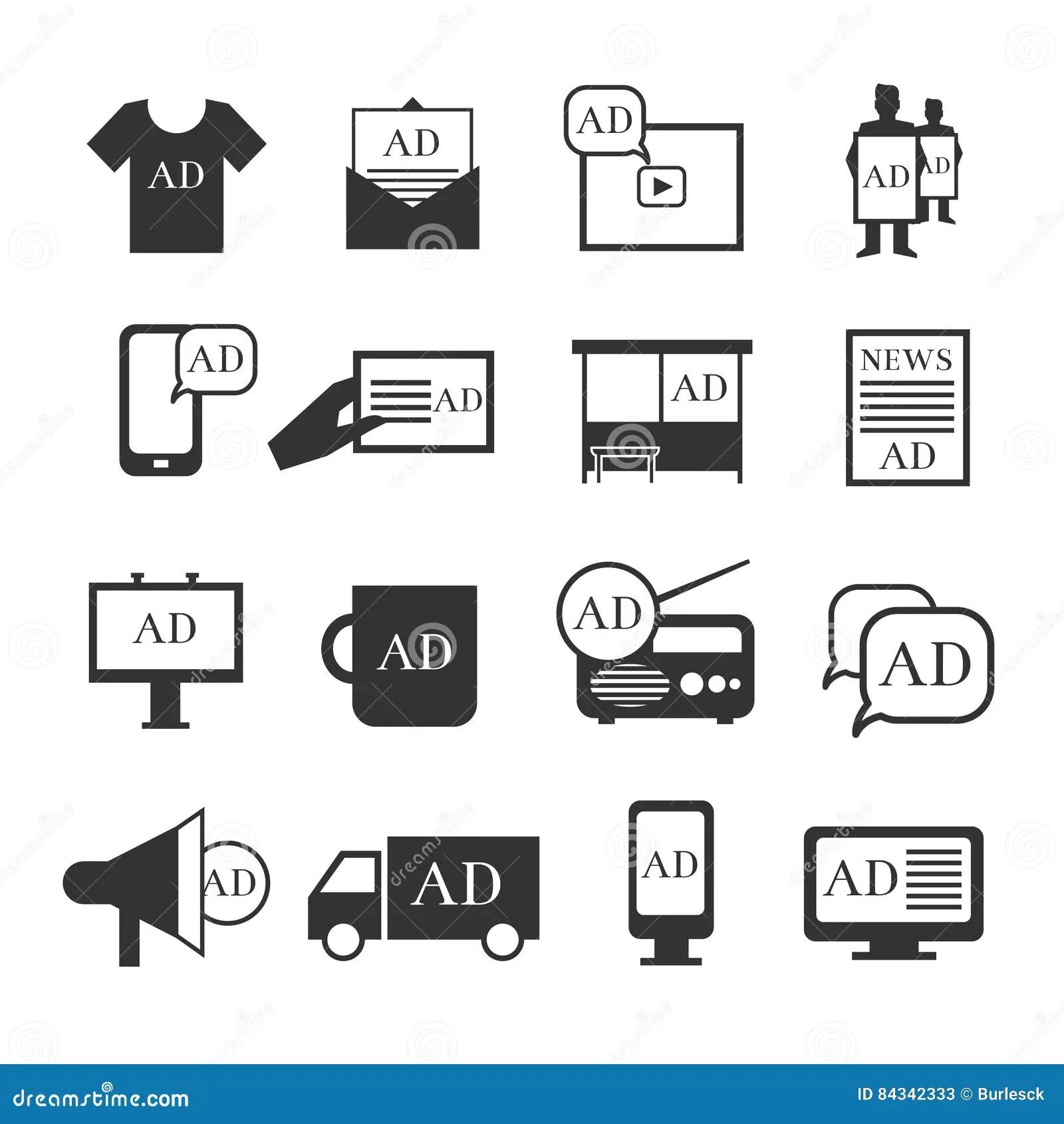 Vector Advertising Media Silhouette Icons Cartoon Vector