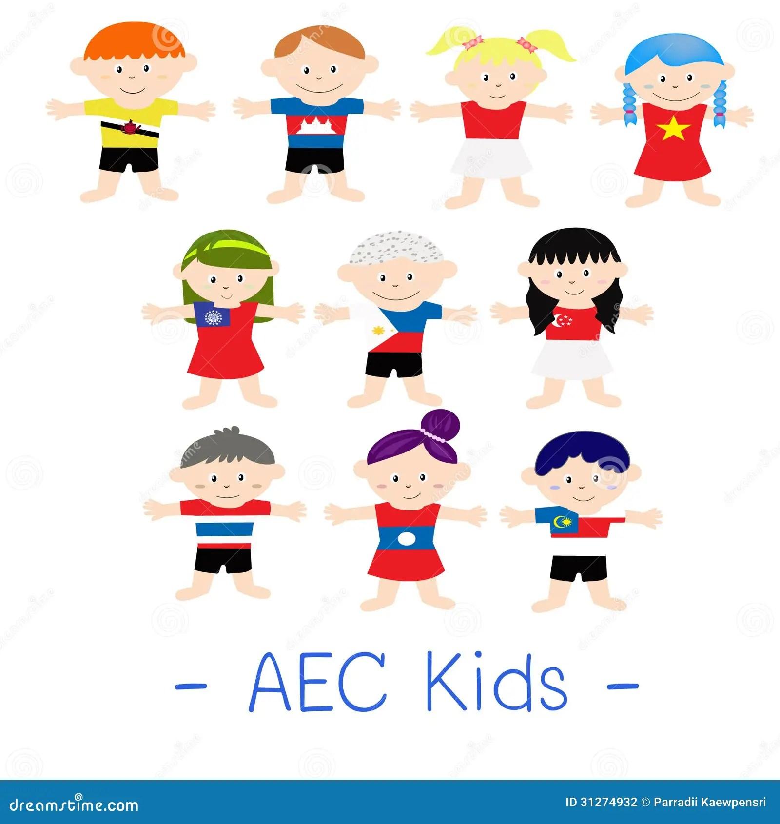 Aec Asian Kids Stock Vector Illustration Of Asean
