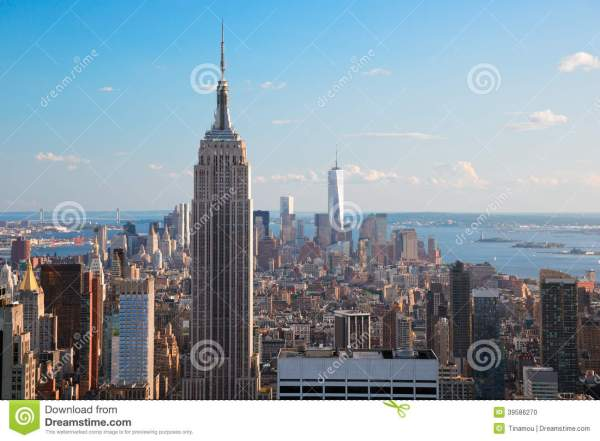View From Empire State Building of Statue of Liberty