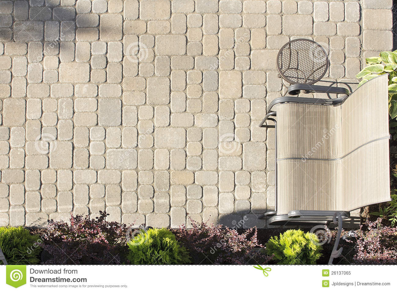 Aerial View Of Garden Paver Patio Stock Image  Image of