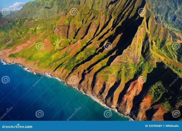 Aerial View Of Spectacular Na Pali Coast Kauai Stock