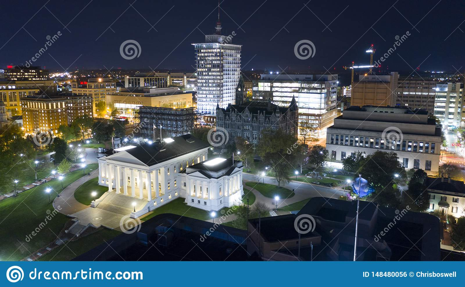 Aerial View Virginia State Capital Building Downtown Urban
