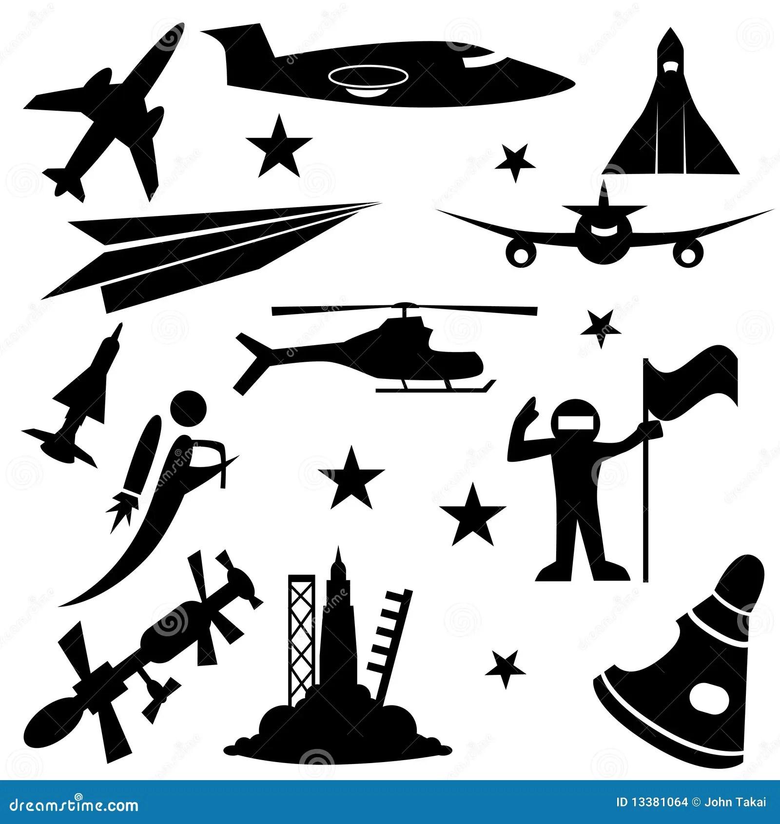 Aerospace Icon Set stock vector. Illustration of planes