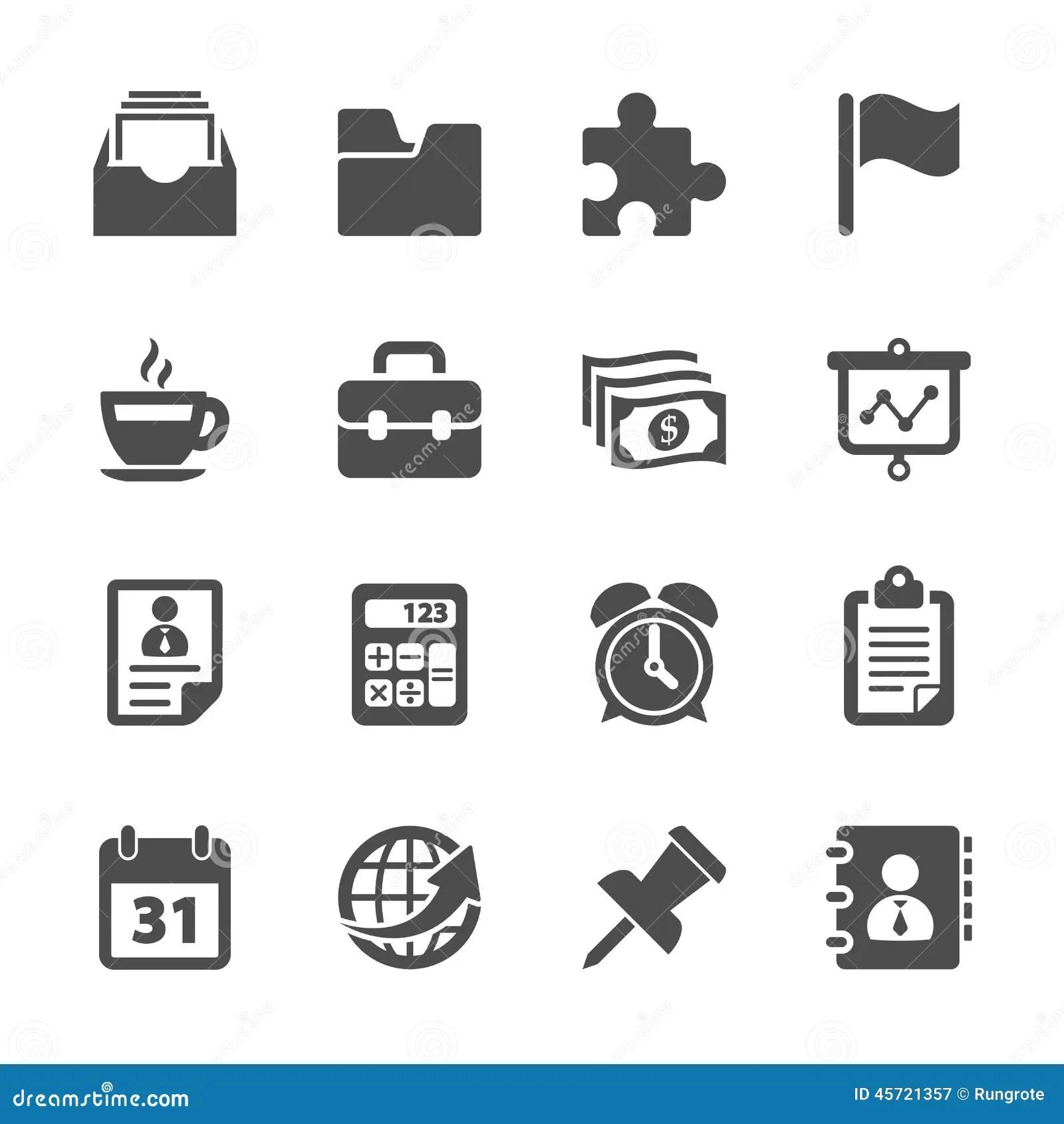Affaires Et Ensemble D Icone De Travail De Bureau Vecteur