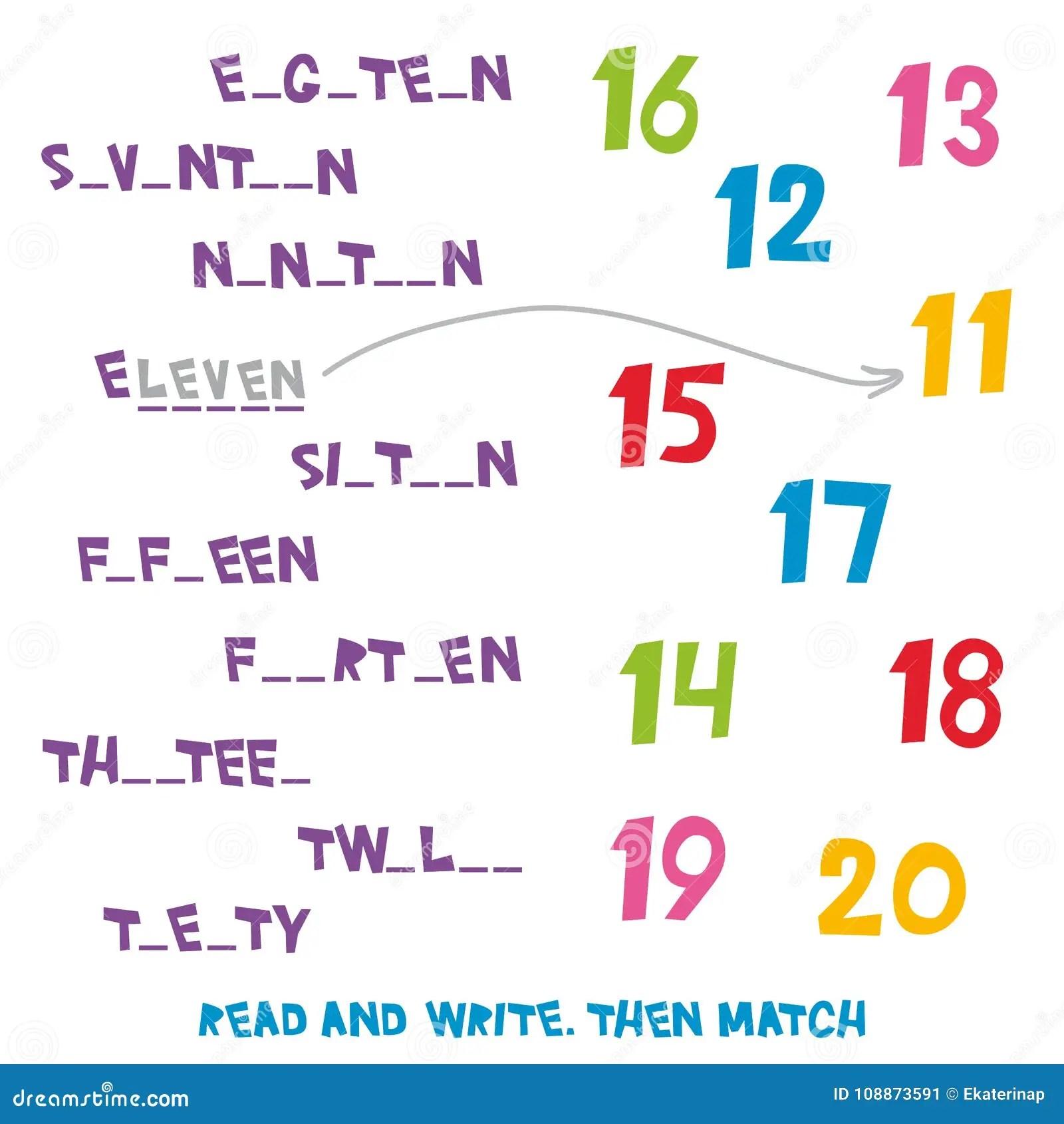 Affichez Et Ecrivez Assortissez Alors Les Numeros 11 20