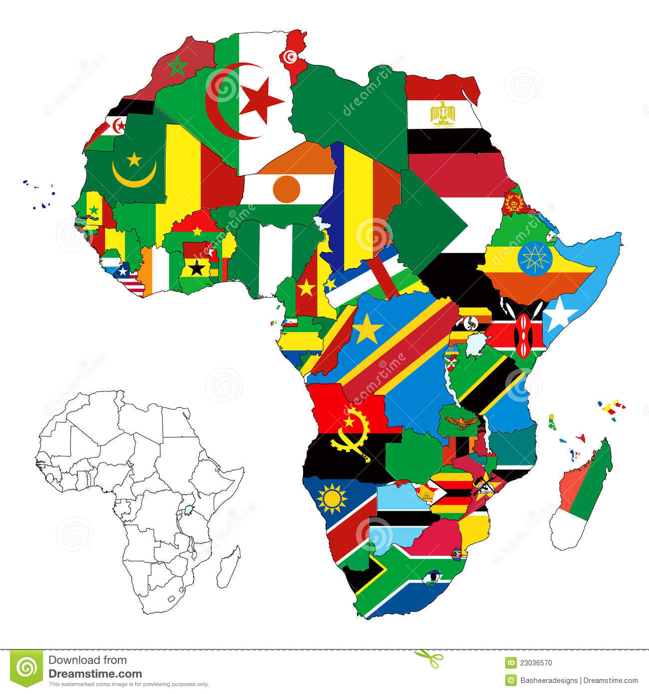 Africa Continent Flag Map Stock Vector Illustration Of