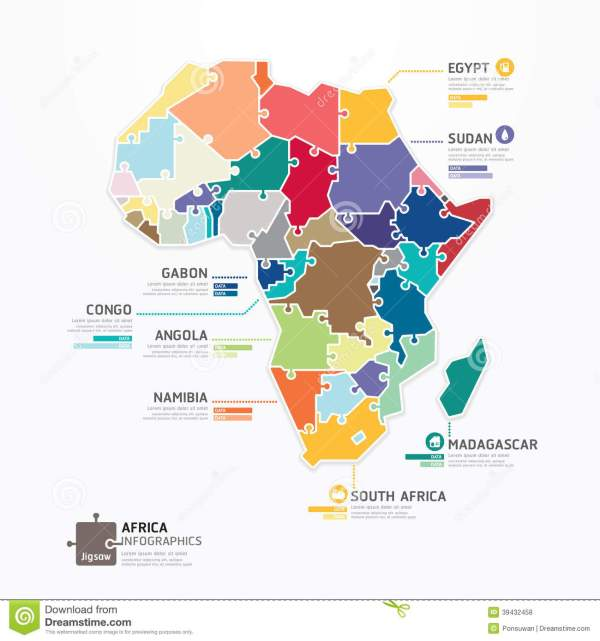 Africa Infographic Map Template Jigsaw Concept Banner