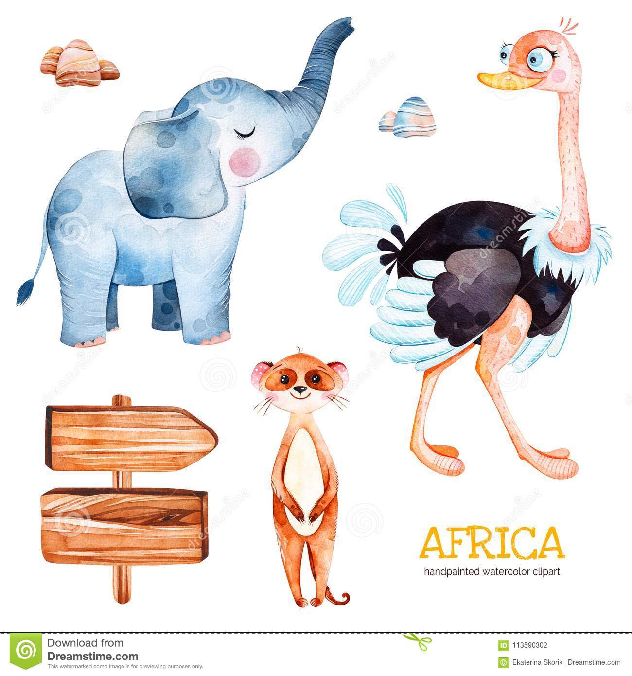 safari collection with ostrich