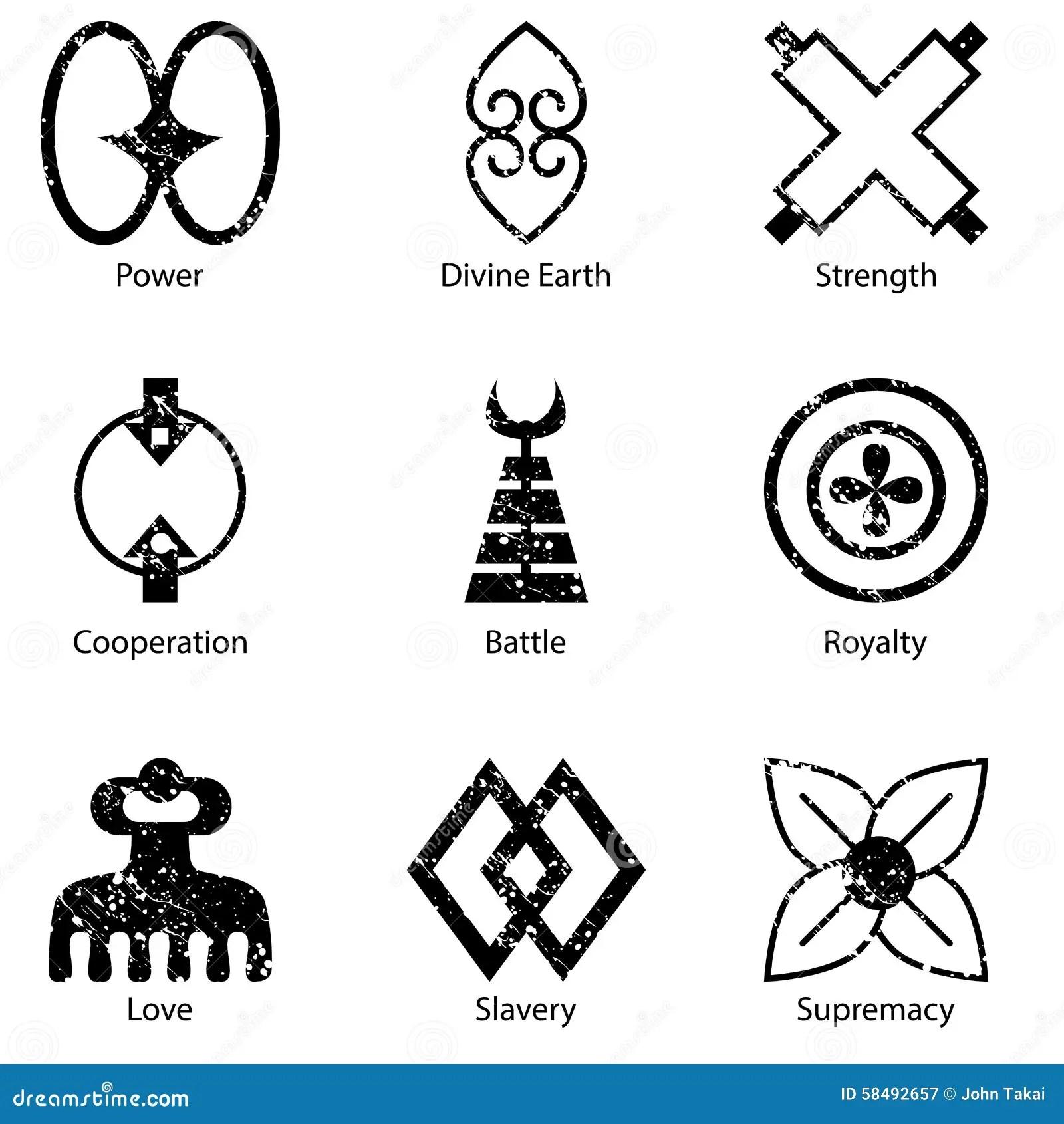 African Adinkra Symbol Icon Set Stock Vector