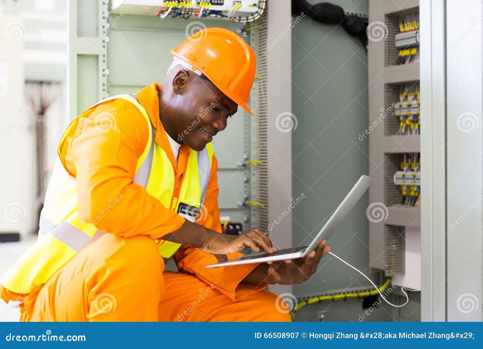African American Engineer Laptop Stock Image  Image 66508907