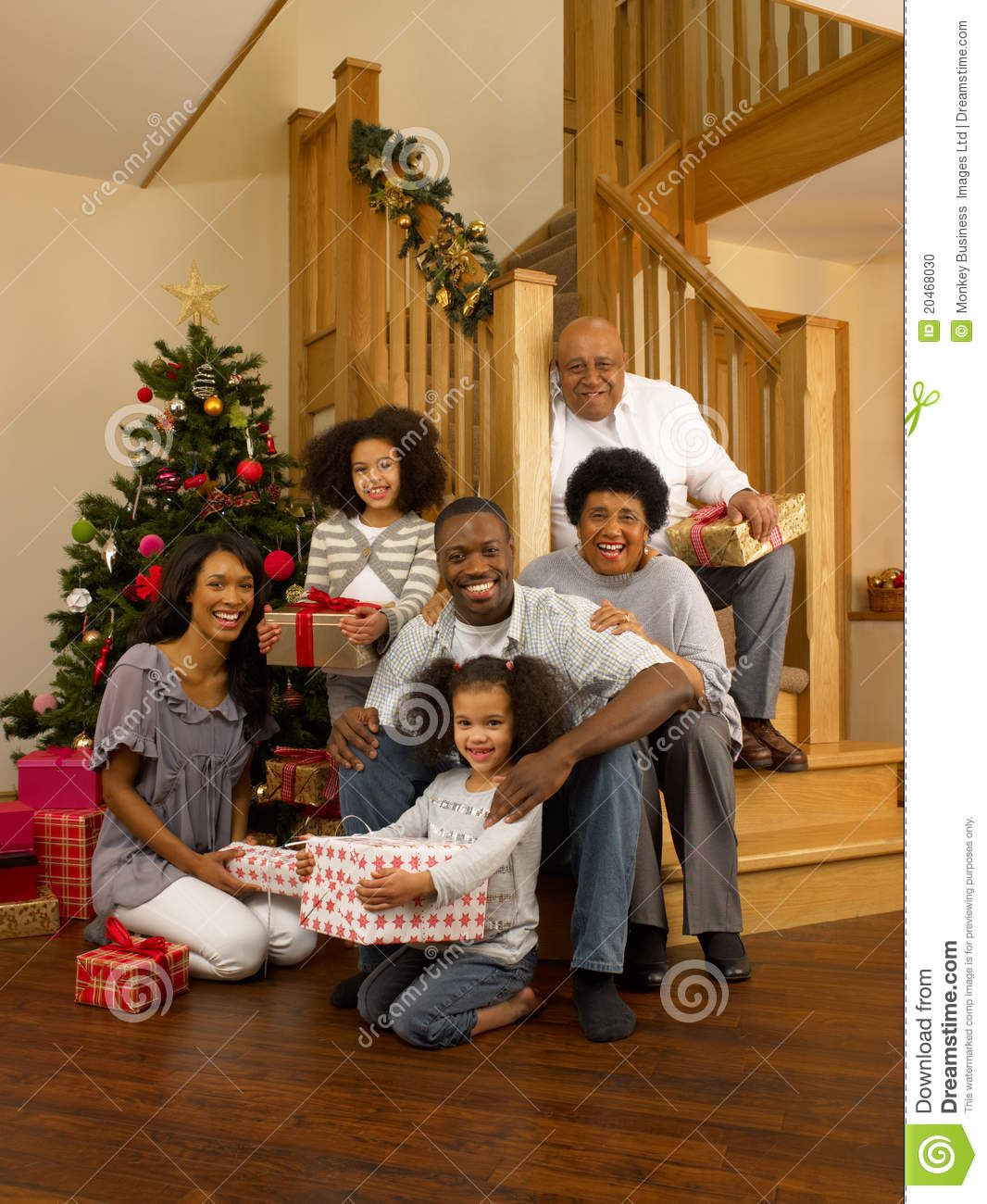 African American Family At Christmas Stock Photo Image