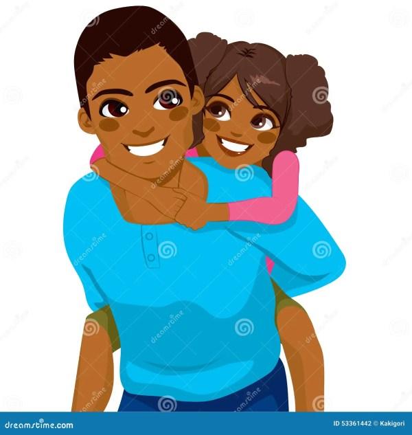 African American Father Daughter Piggyback Stock Vector
