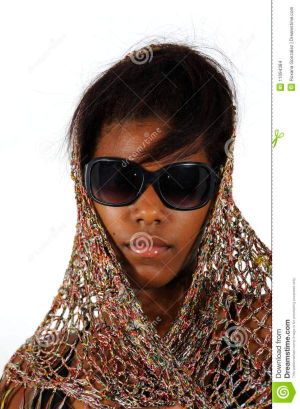 African American Girl Wearing Sunglasses Stock