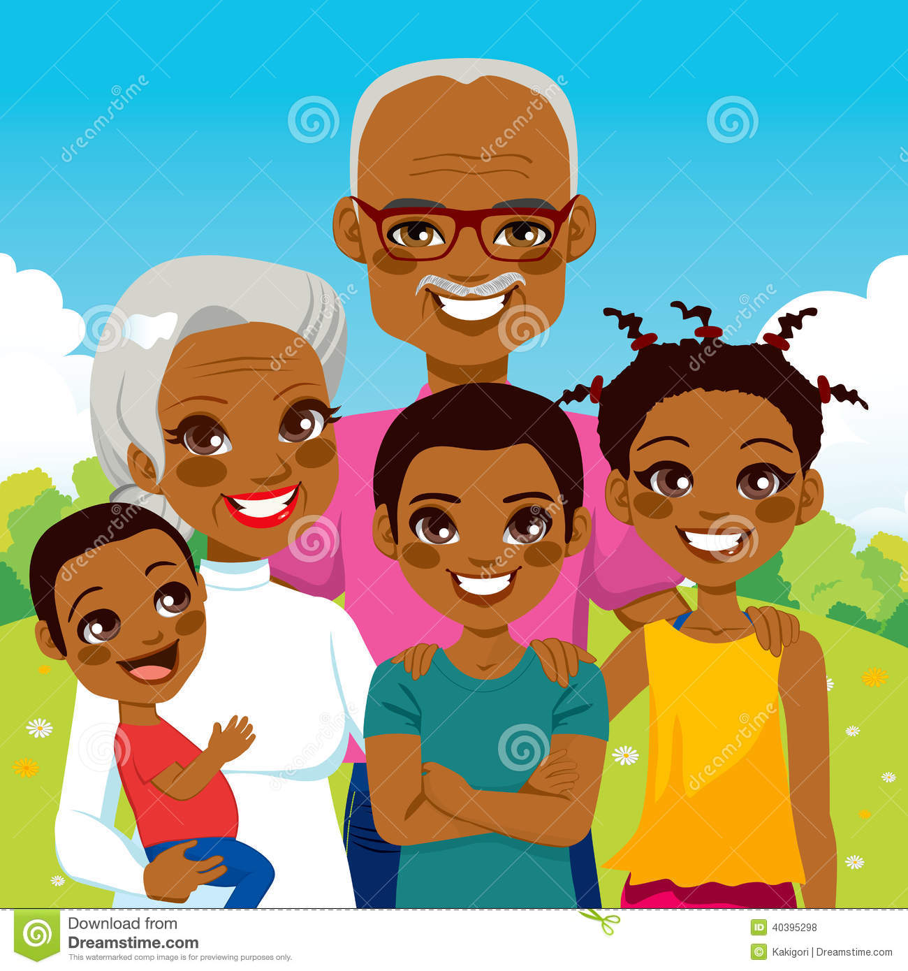 hight resolution of cute african american grandparents with grandchildren family together on park smiling happy