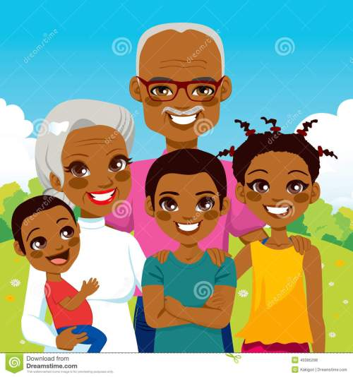small resolution of cute african american grandparents with grandchildren family together on park smiling happy