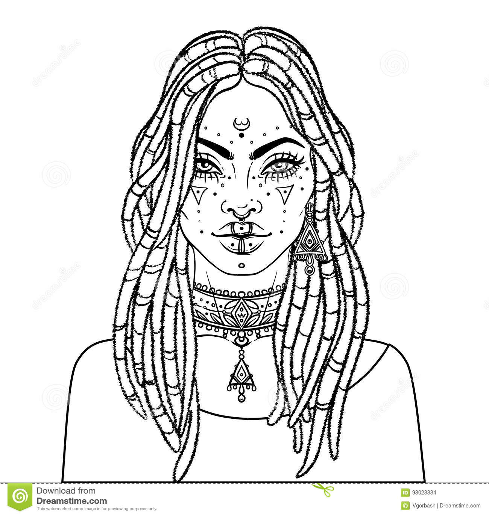 African American Pretty Girl Vector Illustration Of Black