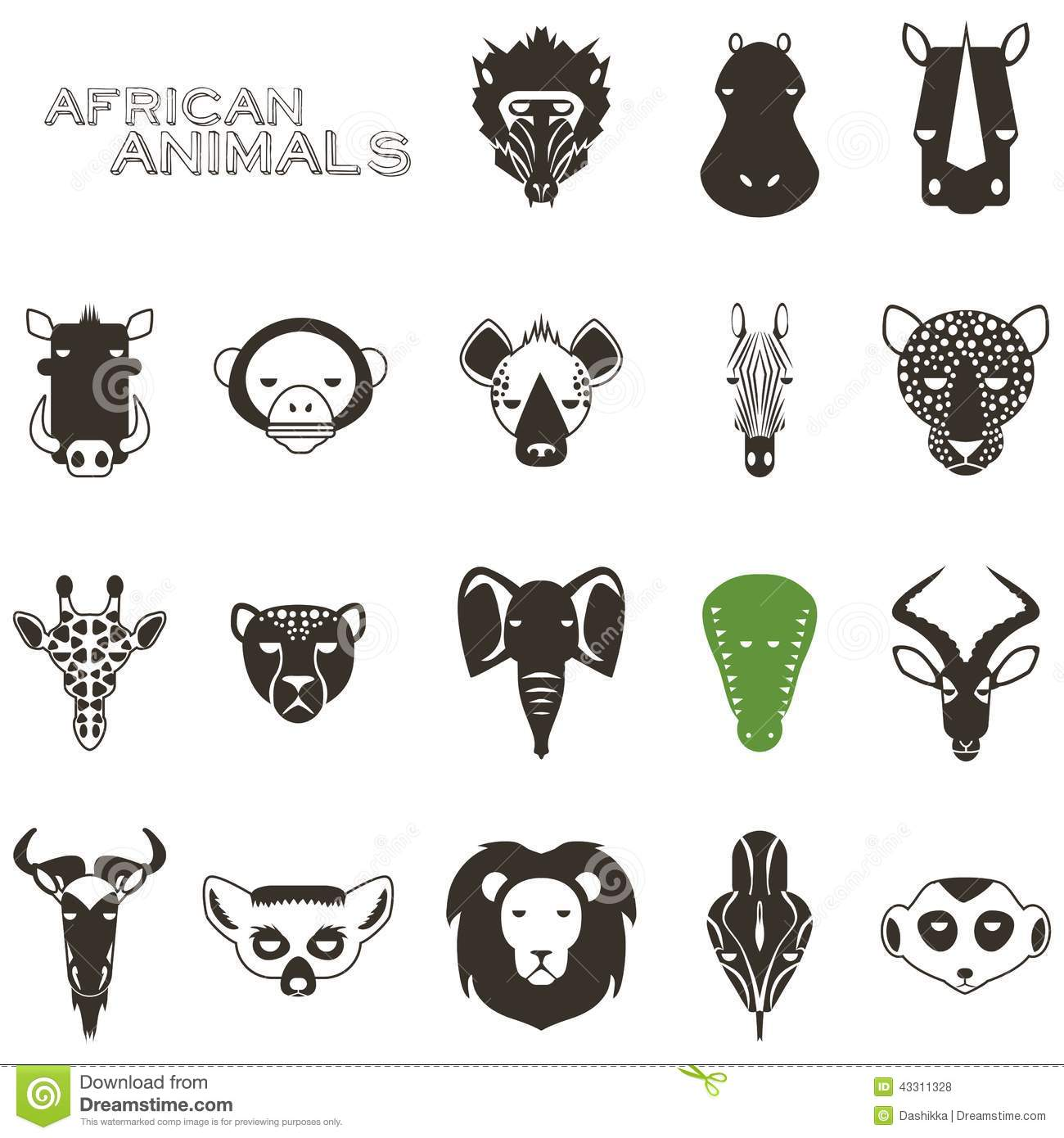 African Animal Black Icons Stock Vector