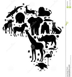 african animal silhouette set [ 1009 x 1300 Pixel ]