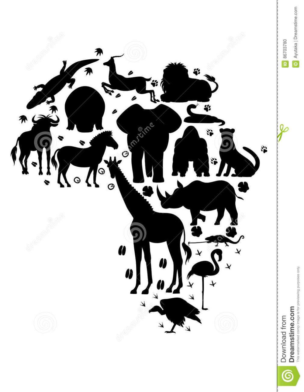 medium resolution of african animal silhouette set