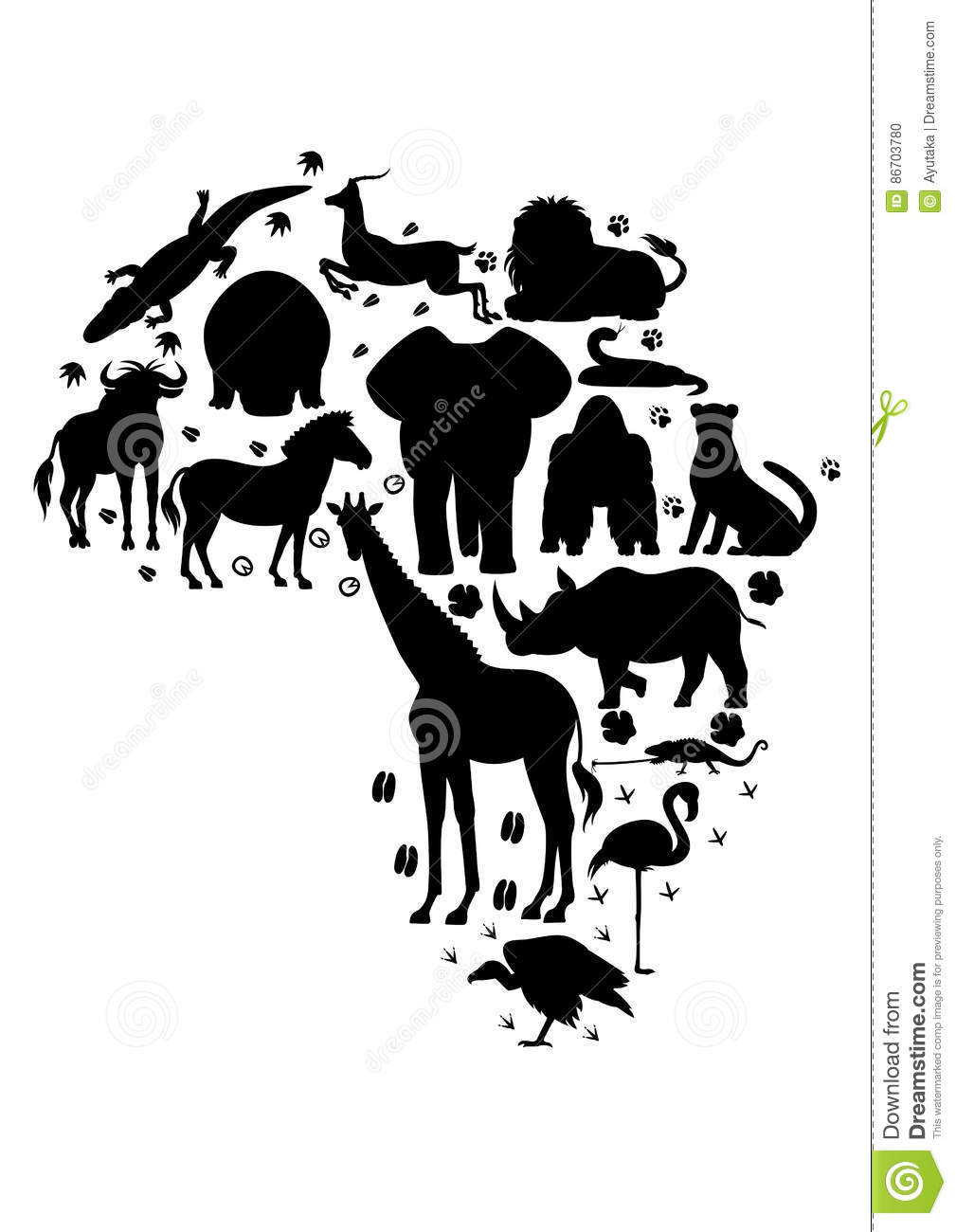 hight resolution of african animal silhouette set