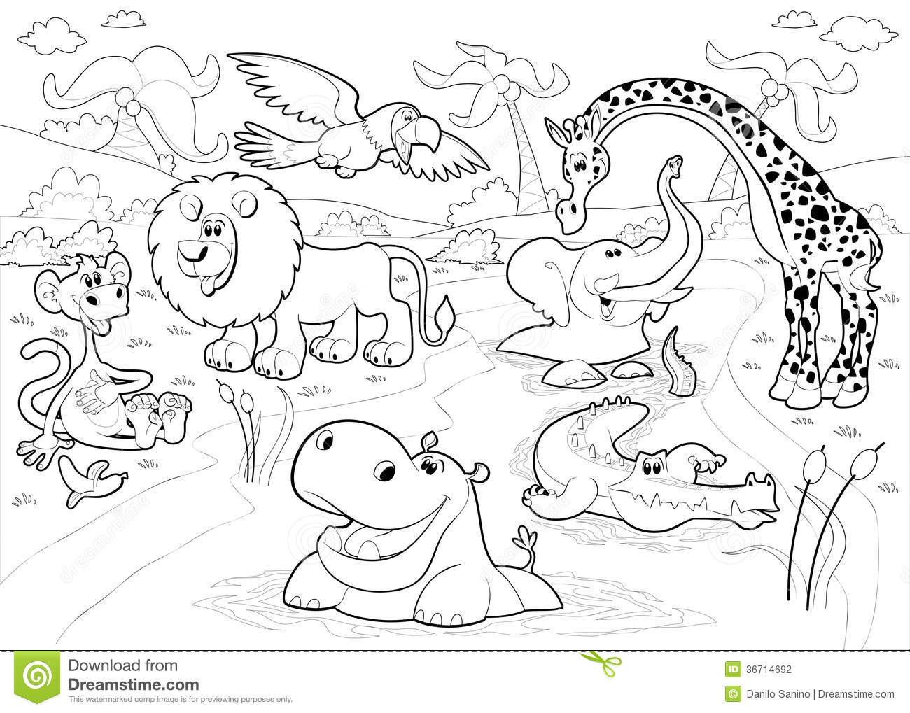 African Animals In The Jungle In Black And White. Stock