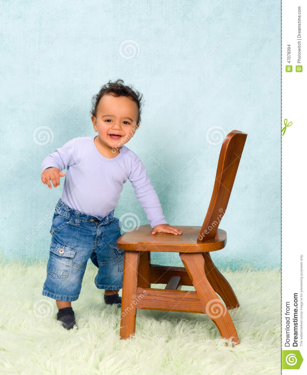 Toddler Boy Chair African Baby Boy Trying To Stand Stock Photo Image 47078394