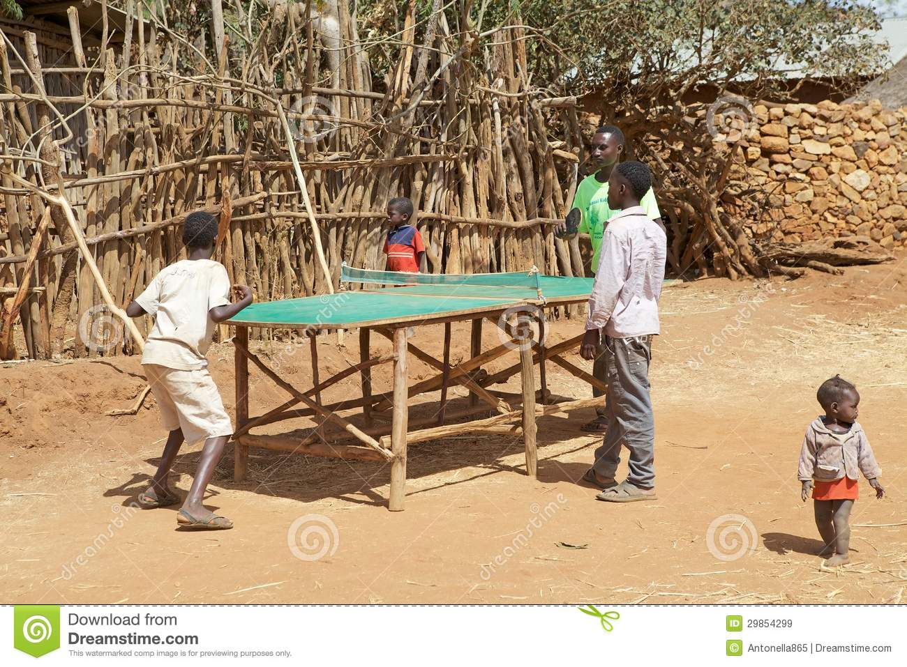 African Children Are Playing Table Tennis Editorial Stock